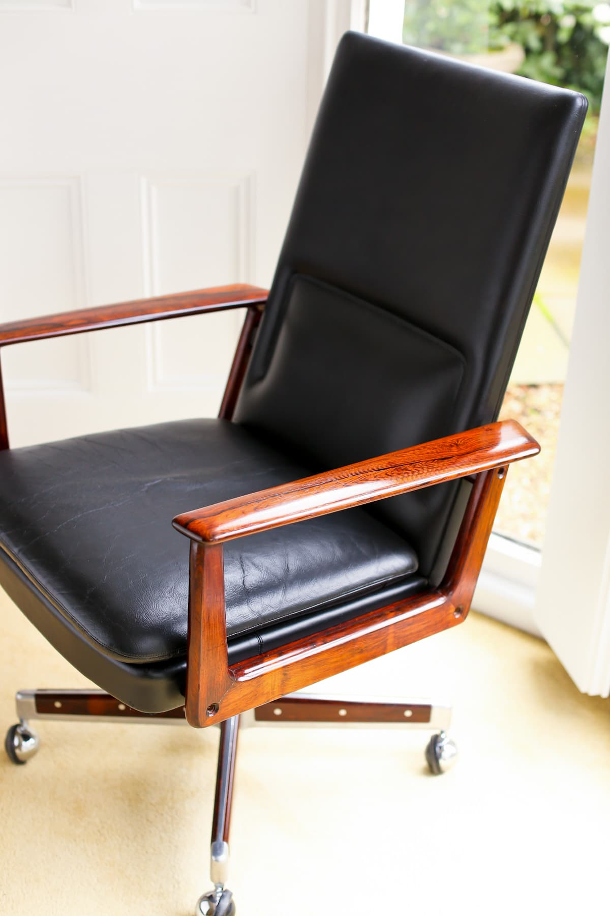 Mid century armchair Arne Vodder leather rosewood Sibast