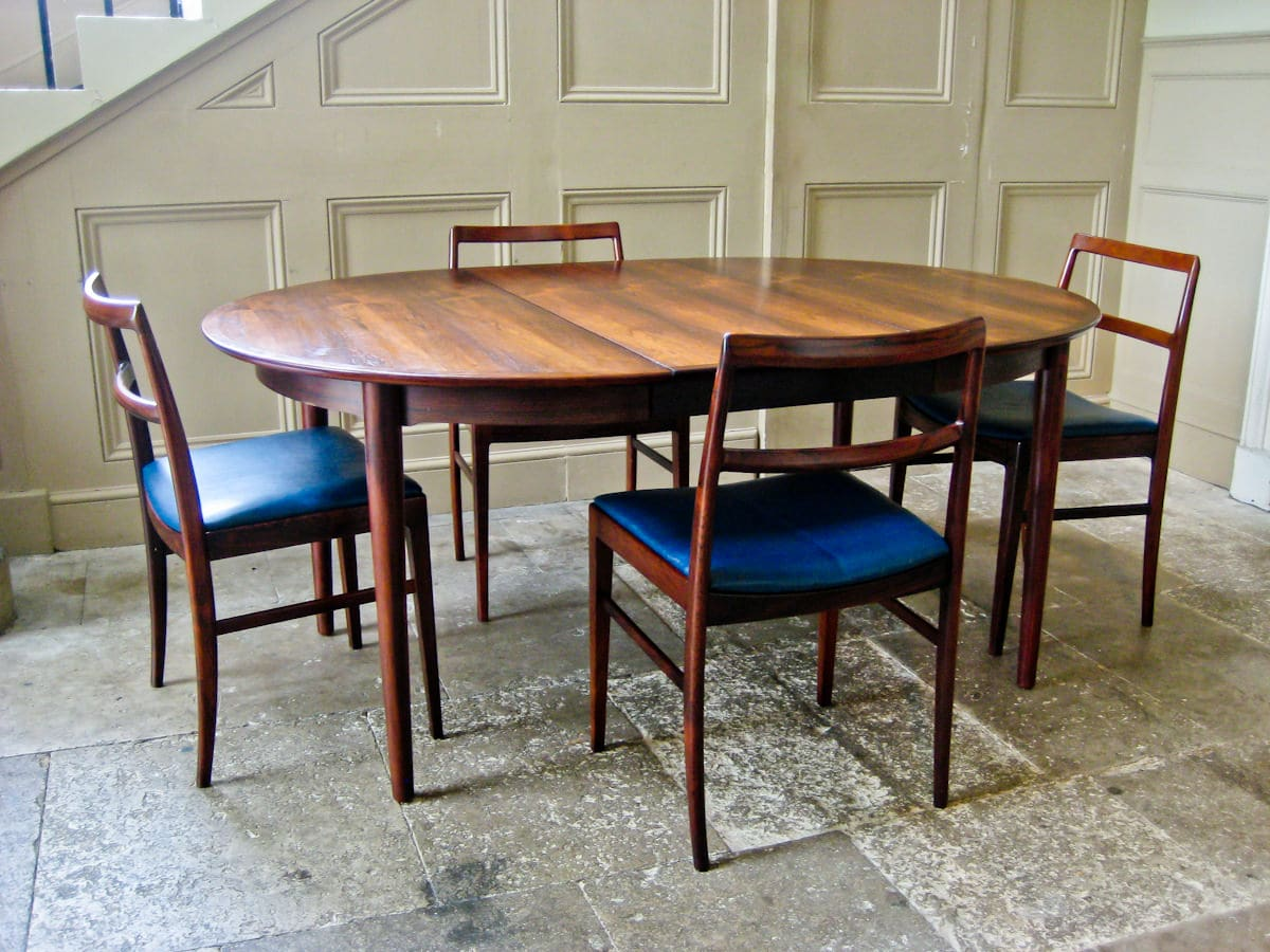 Arne Vodder rosewood mid century dining chairs table