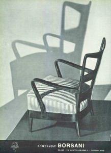 Borsani mid century modern furniture chair Italian advert 1950
