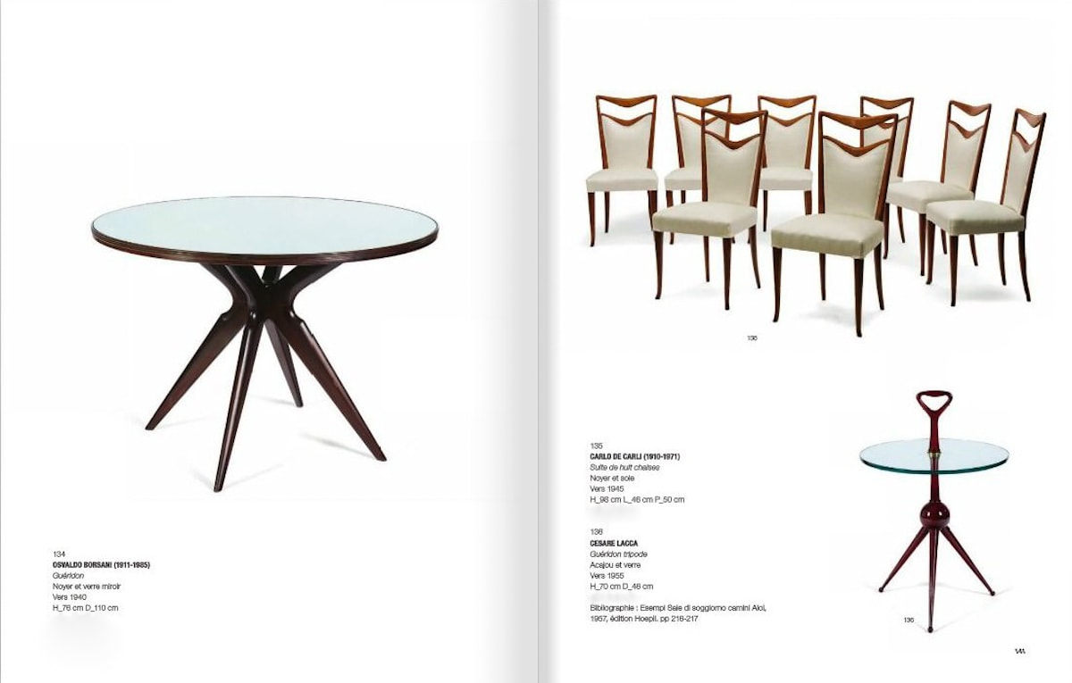 Carlo di Carli auction dining chairs Italian 1950's