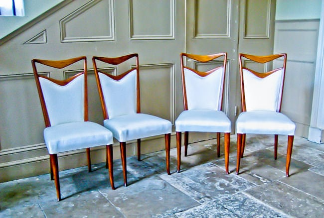 mid century furniture Carlo di Carli dining chairs silk & walnut Italian 1950's
