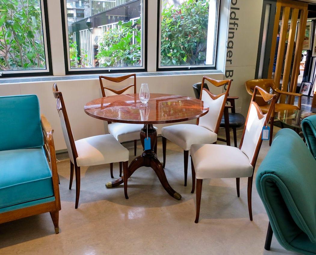 Italian dining chairs silk walnut Carlo di Carli 1950's