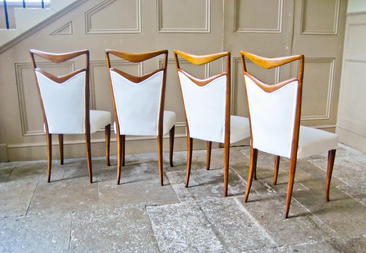 Carlo di Carli vintage dining chairs silk & walnut
