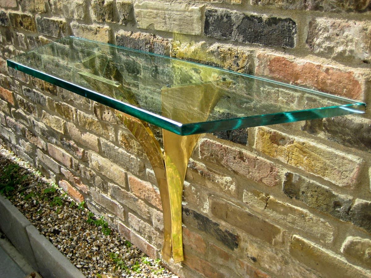 Italian design Fontana Arte glass & brass console table