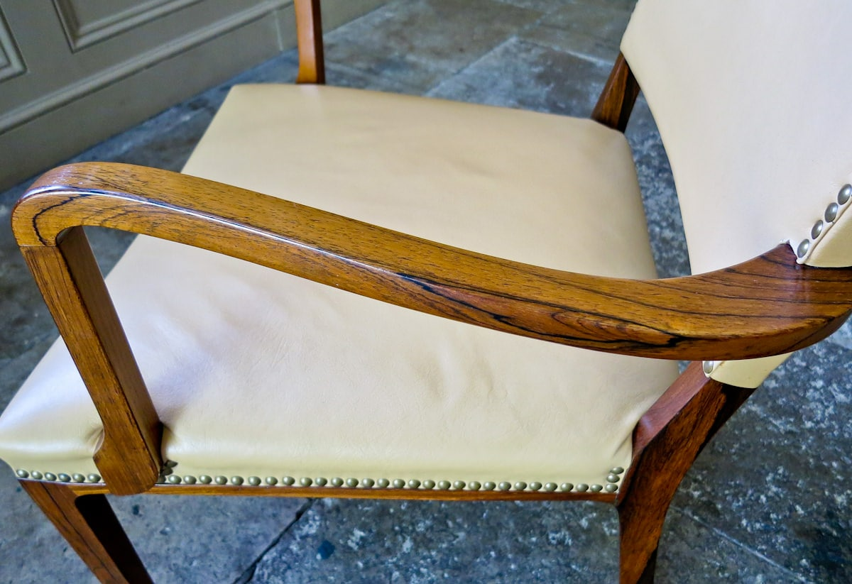 Danish armchair rosewood & leather mid century modern