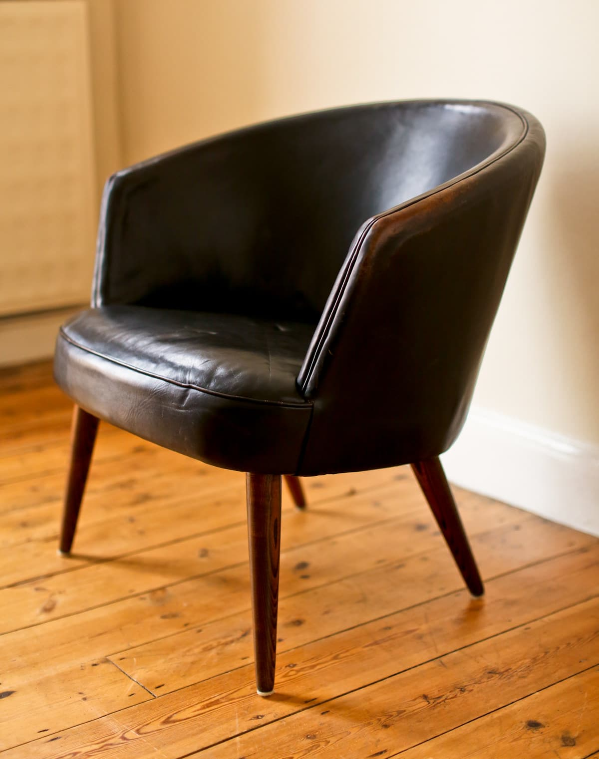 Mid century armchair Danish modern leather 1950's