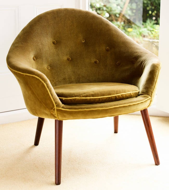 Vintage furniture armchair Danish velvet & teak 1950's