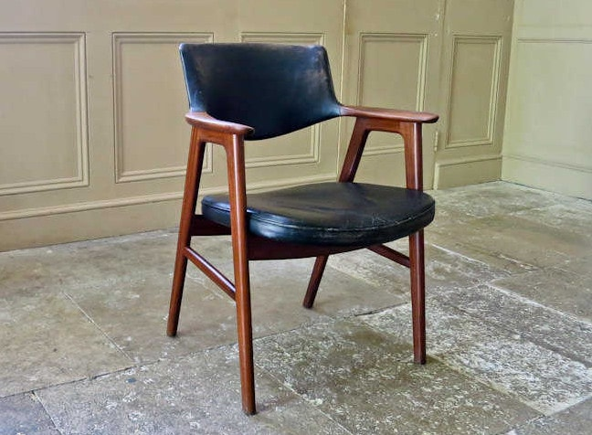 Erik Kirkegaard armchair teak & leather 1950's