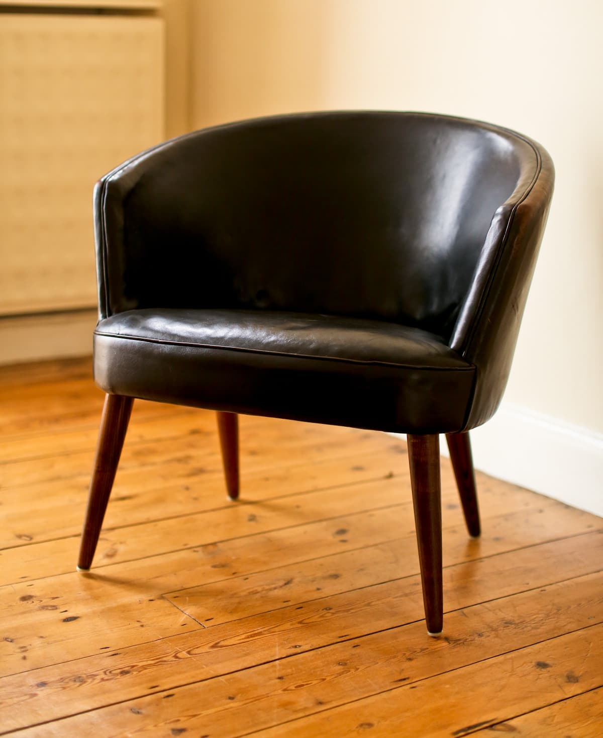 Mid century armchair leather Danish modern 1950's