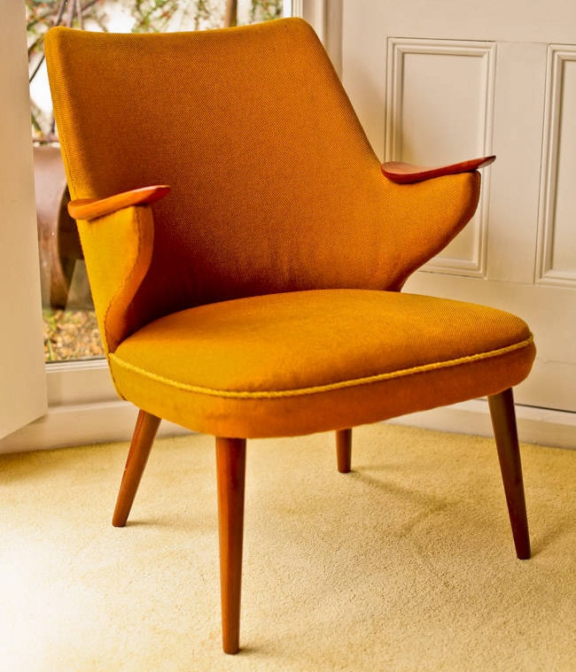 Vintage furniture armchair Danish wool & teak 1950's
