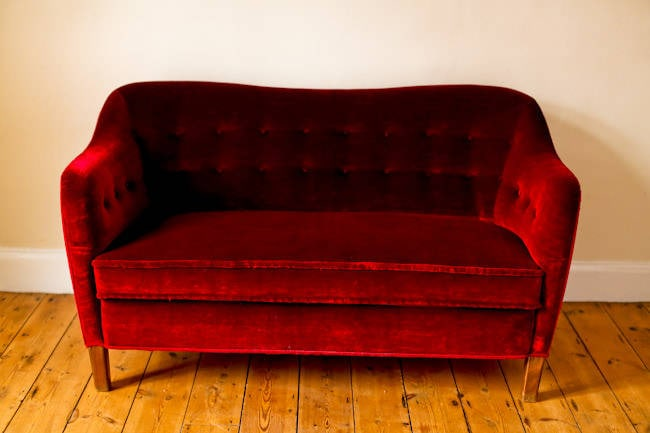Danish sofa in red velvet 1950's