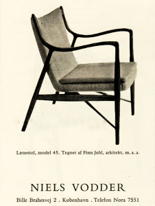 Mid century modern furniture Finn Juhl chair Niels Vodder advert 1950