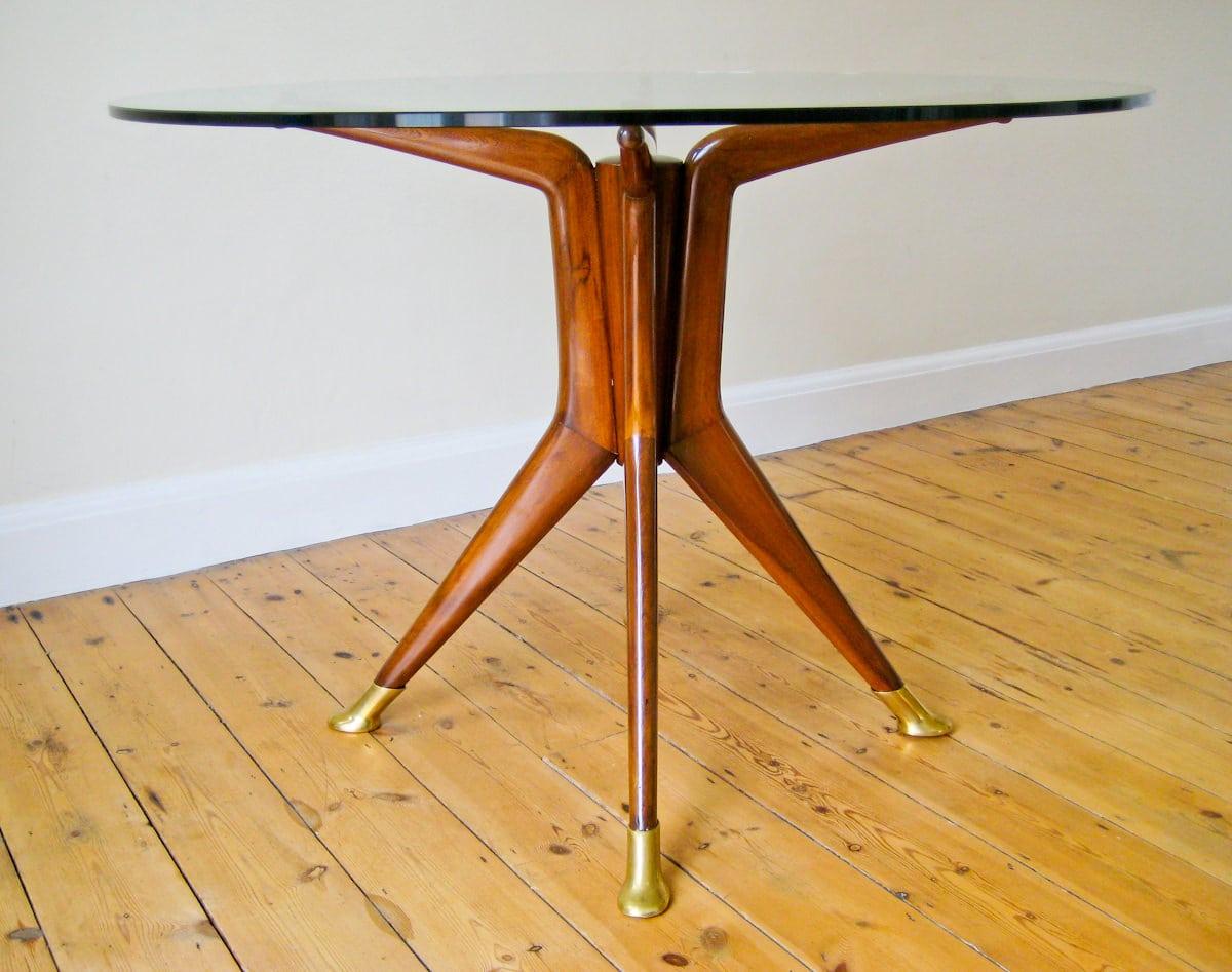 Italian design furniture centre table glass mahogany 1950's
