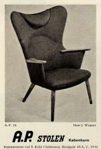 Hans wegner AP Stolen AP28 chair Danish modern 1950's