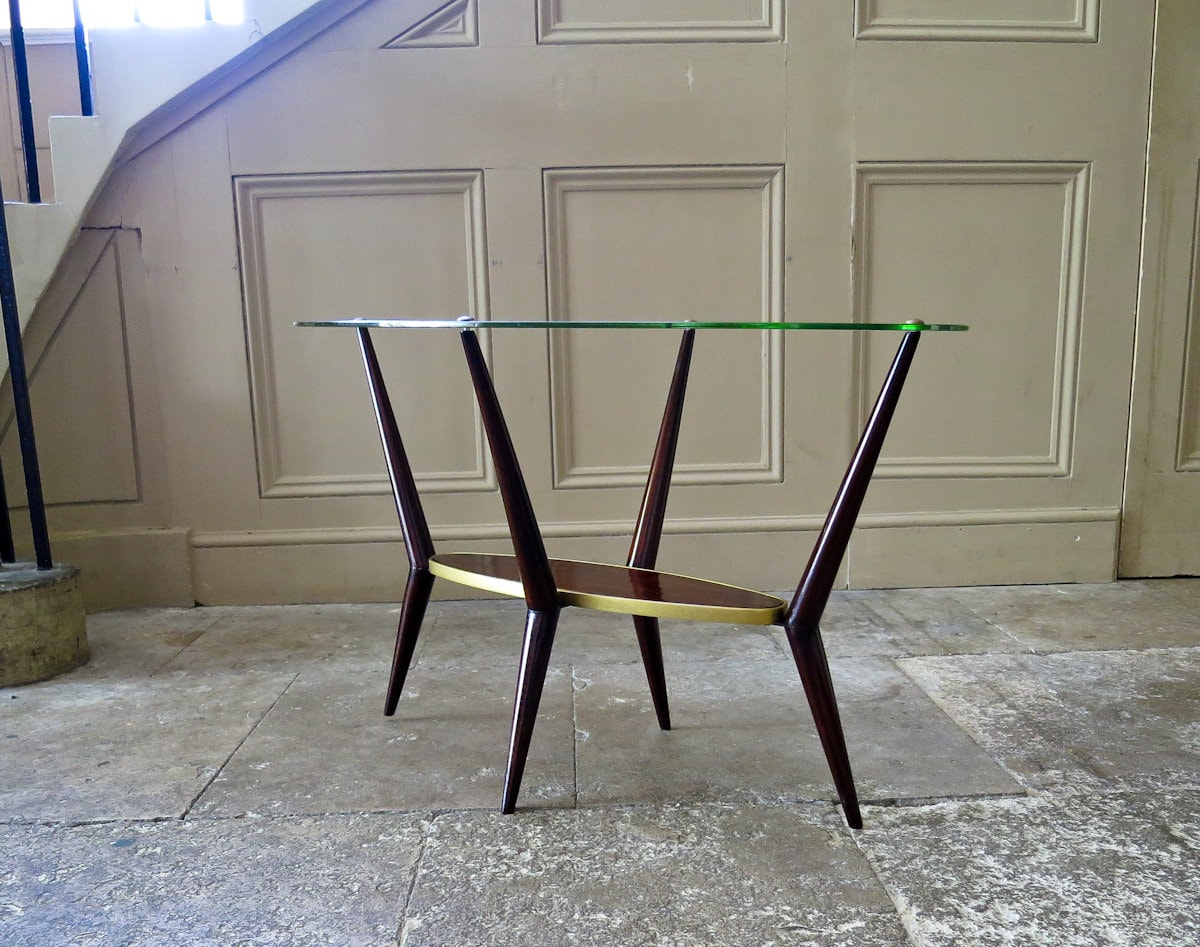 Italian design coffee table in glass brass 1950's