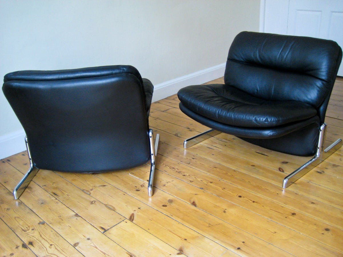Vintage furniture London Brunati chairs leather 1970's