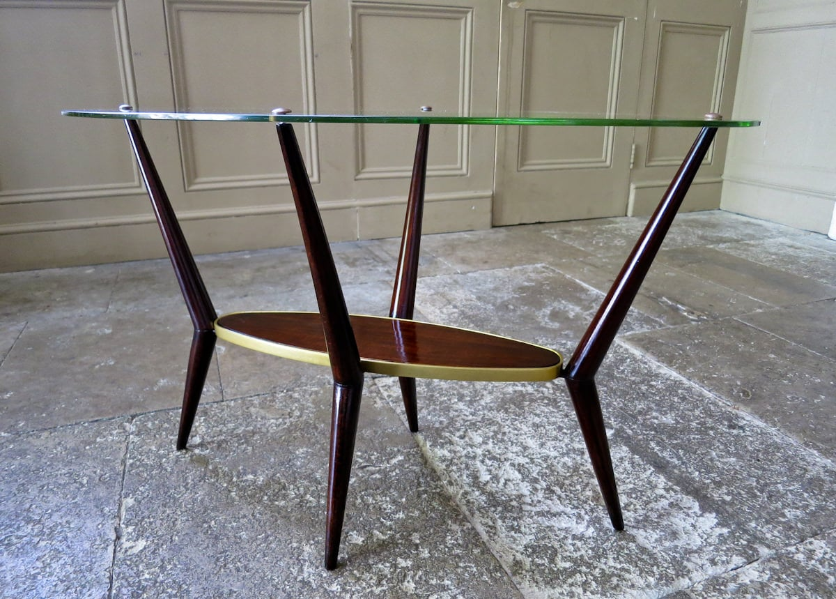 Italian design coffee table glass mid century modern 1950's