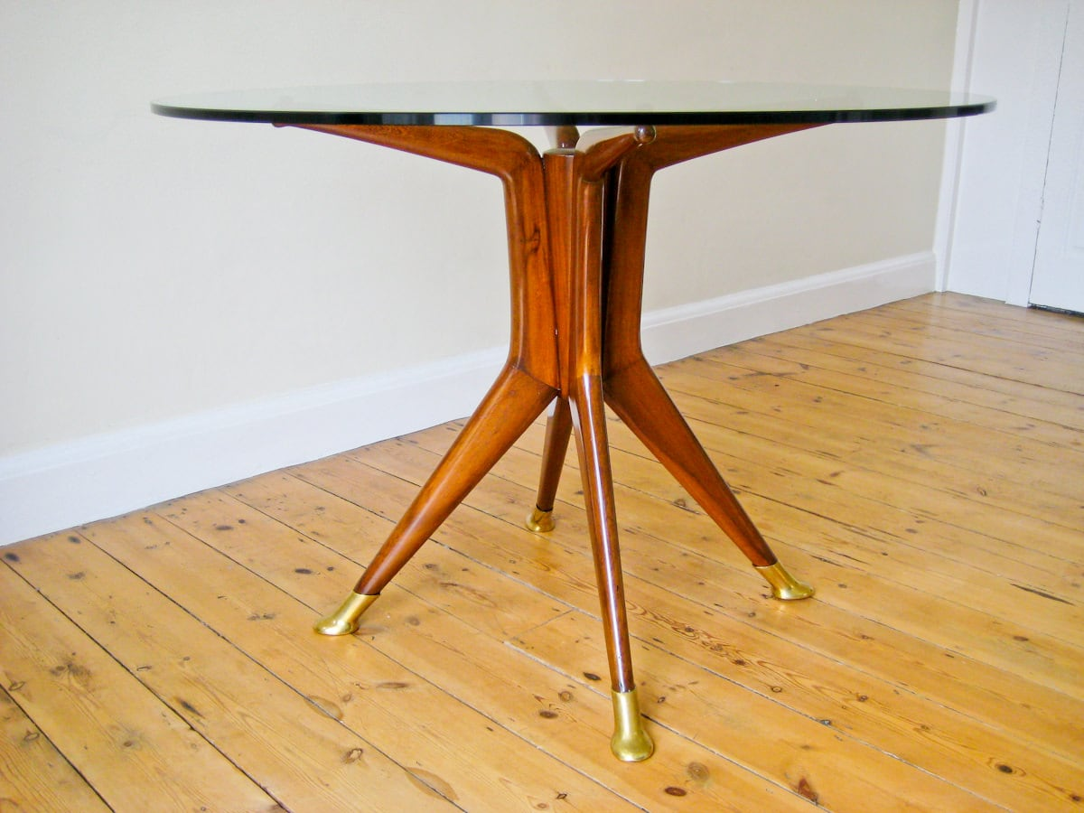 Dining table mahogany & glass Italian design furniture 1950's