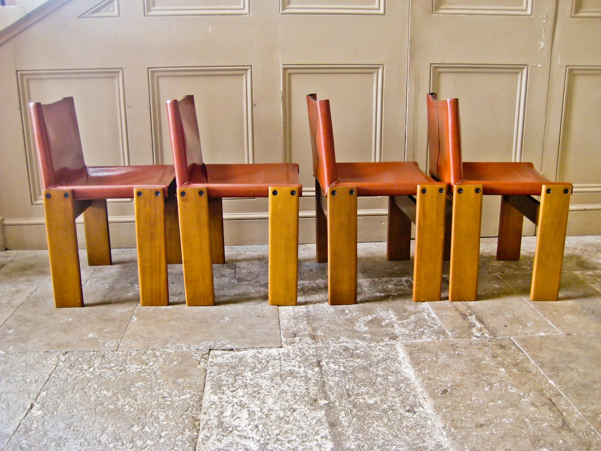 Monk chairs Tobia Scarpa in Leather 1970's italian design
