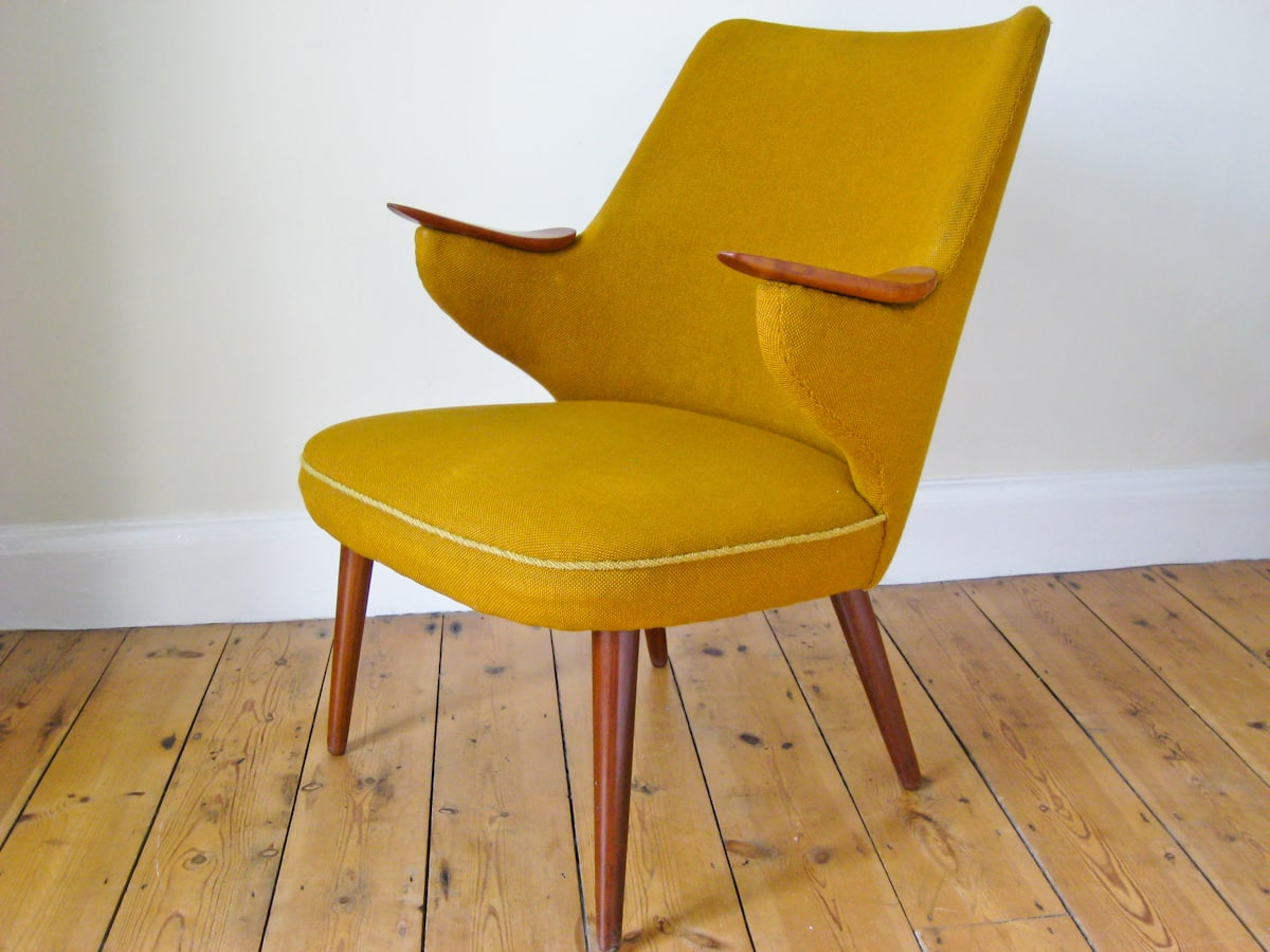 Mid century furniture London armchair in yellow wool 1950's