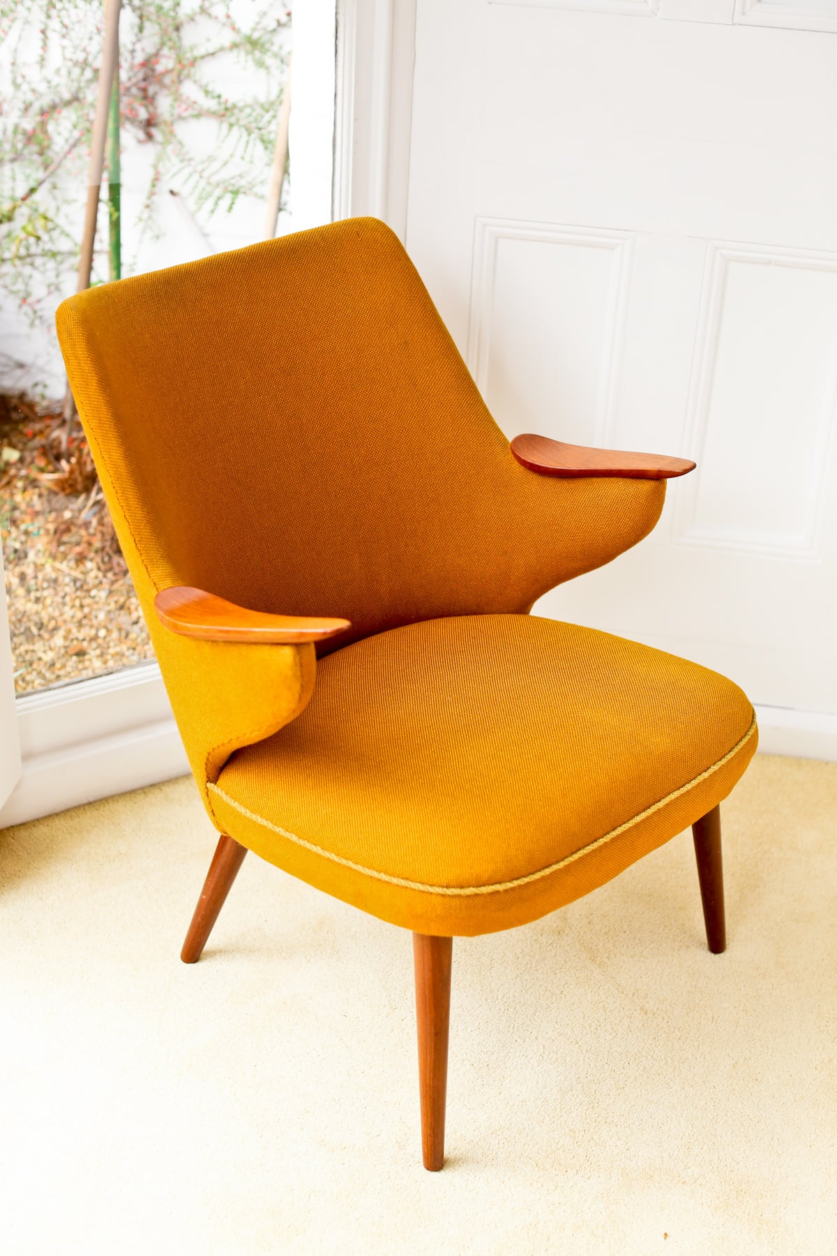 Danish armchair mid century furniture London teak & wool 1950's