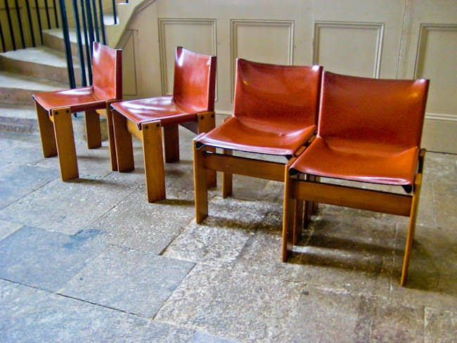 Tobia Scarpa Monk chairs leather 1970's