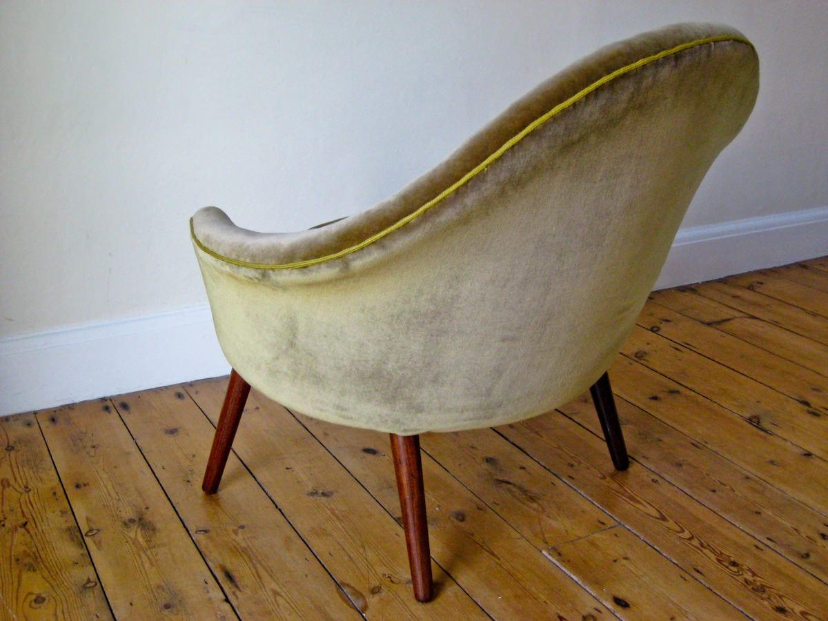 Danish furniture UK velvet armchair 1950's