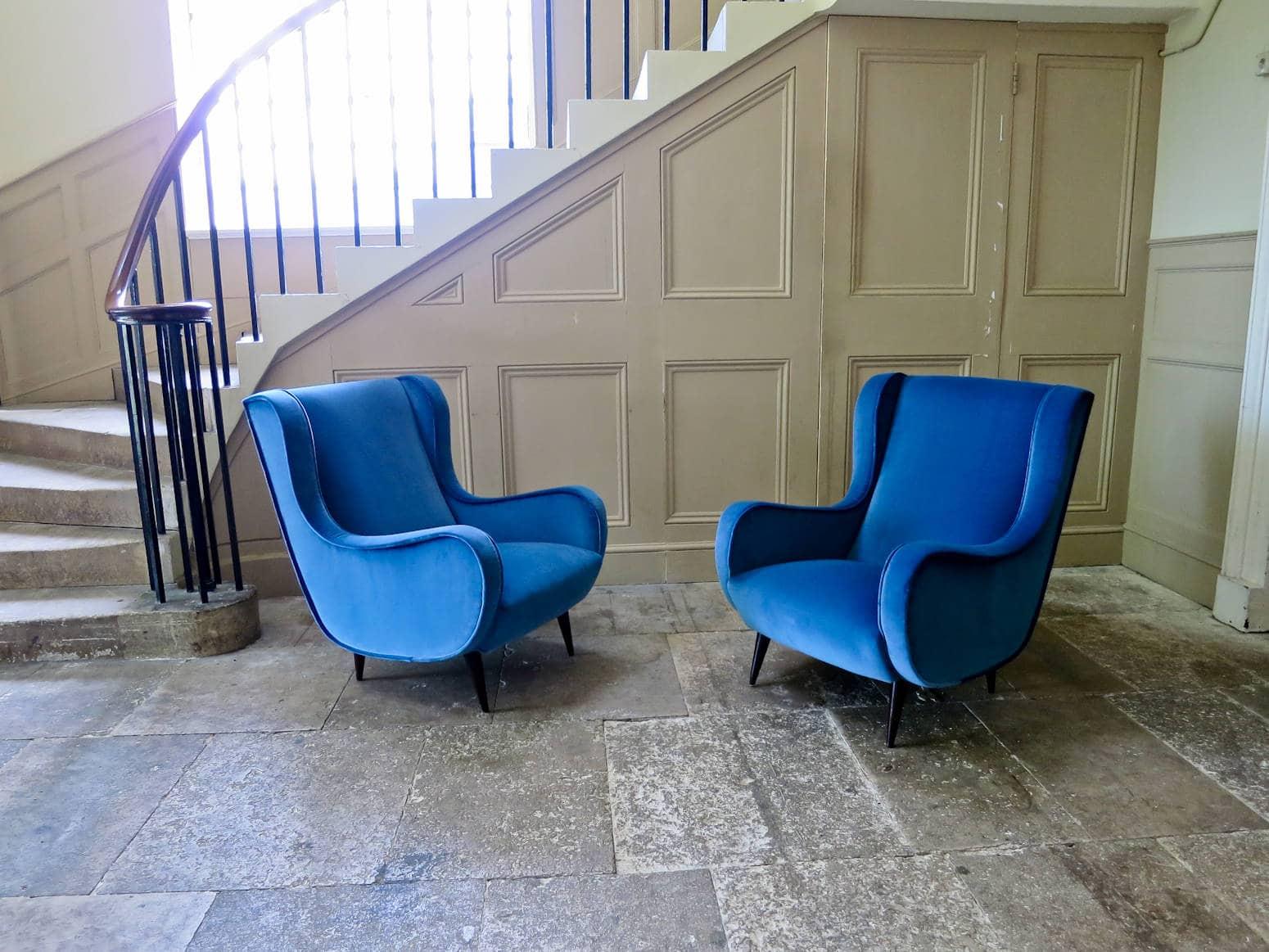 Mid century modern armchairs Marco Zanuso style Italian 1950's