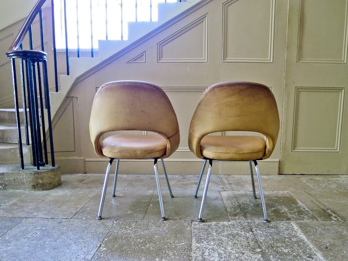 Vintage chairs Saarinen Knoll Executive chair leather 1950's
