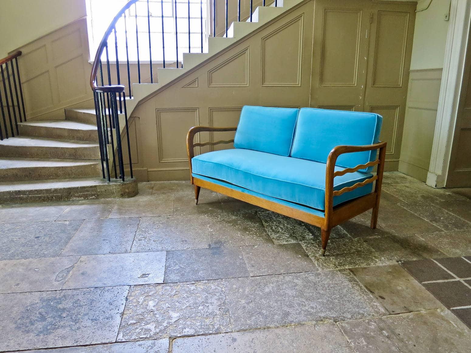 iMid century modern sofa Italian blue velvet & oak 1950's