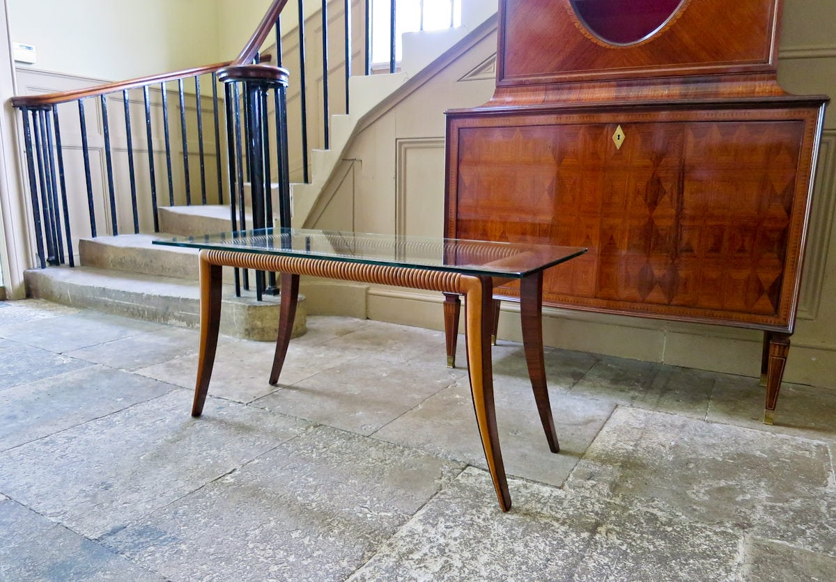 Sofa table Paolo Buffa glass rosewood 1950's