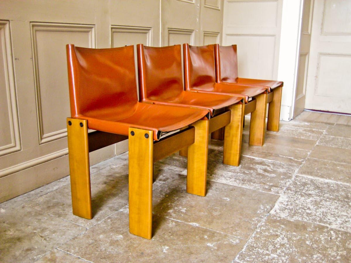 Tobia Scarpa Monk chairs for Molteni italian 1970's