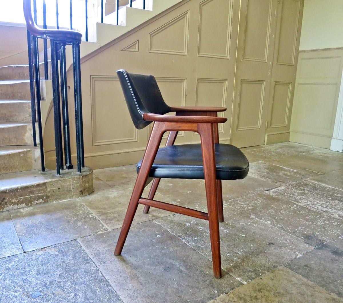 Eric Kirkegaard vintage armchair leather & teak 1950's