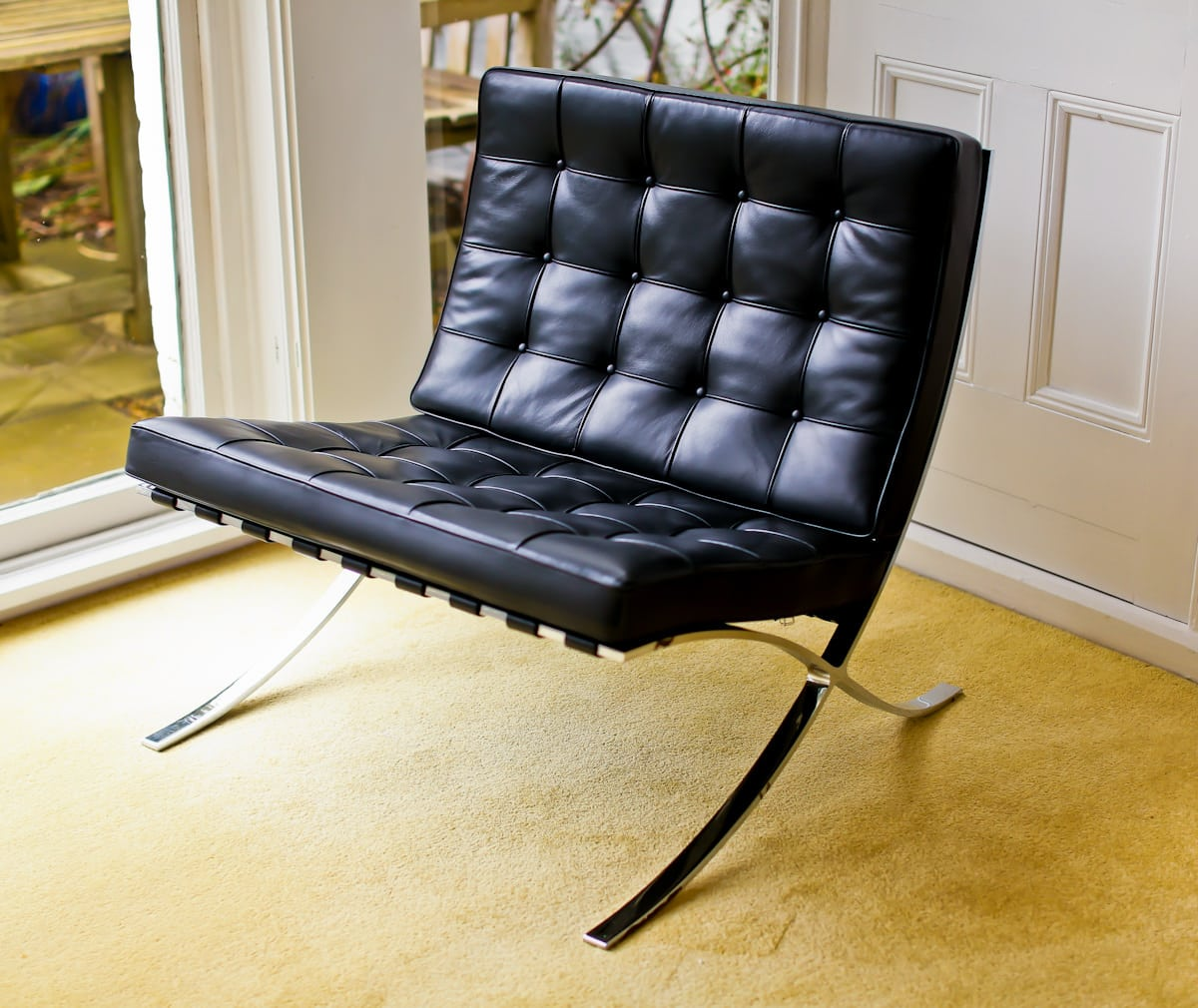 Barcelona chair by Knoll in black leather