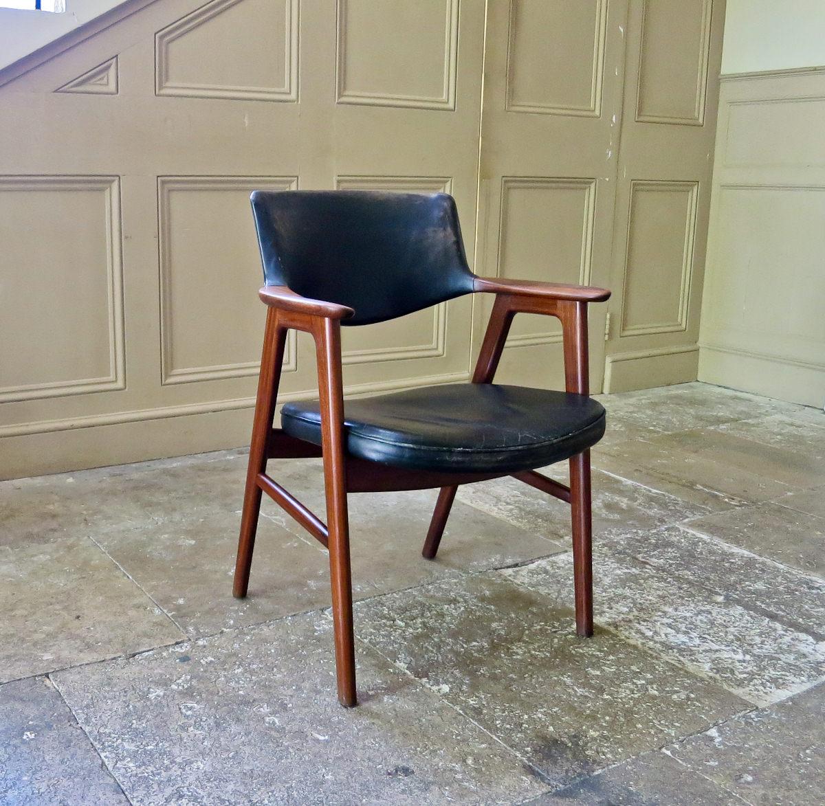 Erik kirkegaard Danish armchair teak & leather 1950's