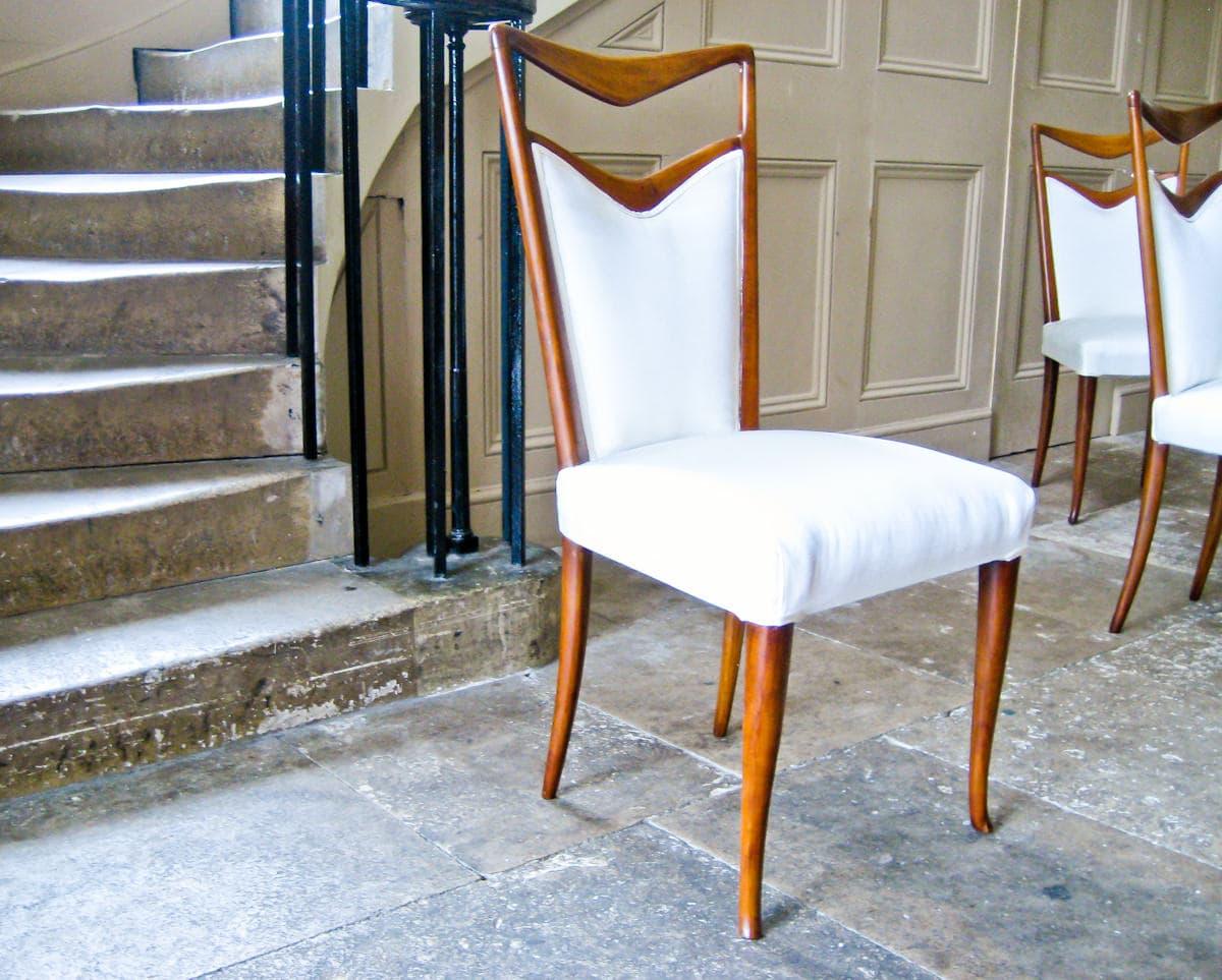 Carlo di Carli dining chairs Italian silk & walnut 1950's