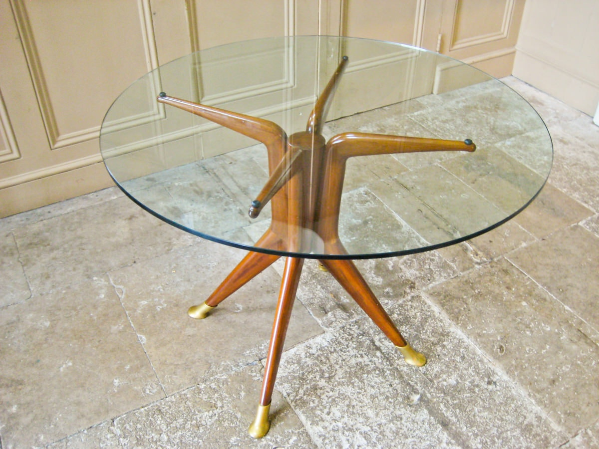 Dining table Italian vintage furniture mahogany glass