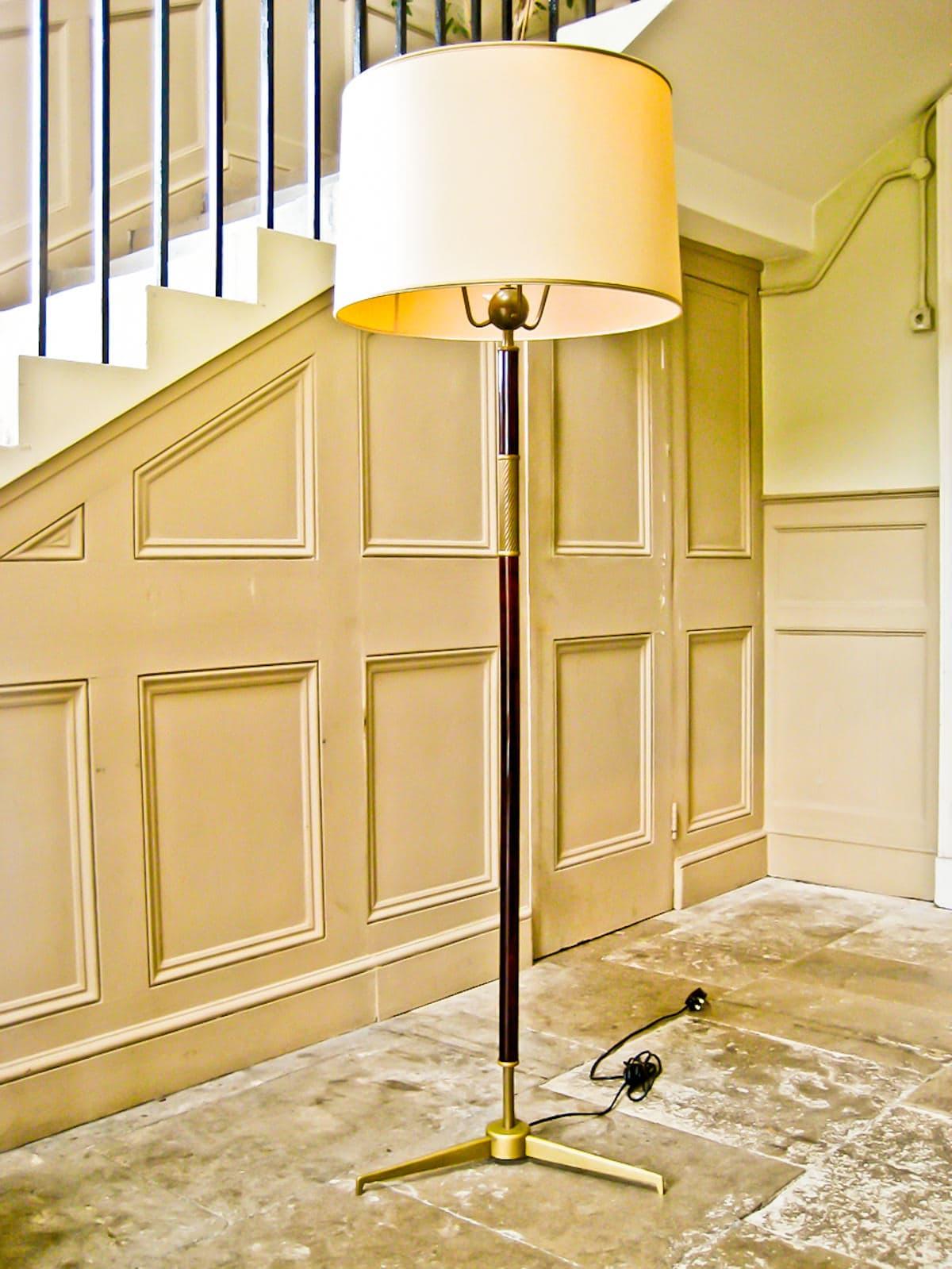 Arredoluce floor lamp brass mahogany Italian design 1950's