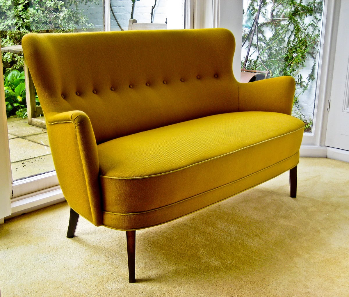 Mid century Danish design sofa in yellow wool 1950's
