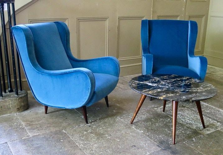 Mid century velvet furniture after restoration