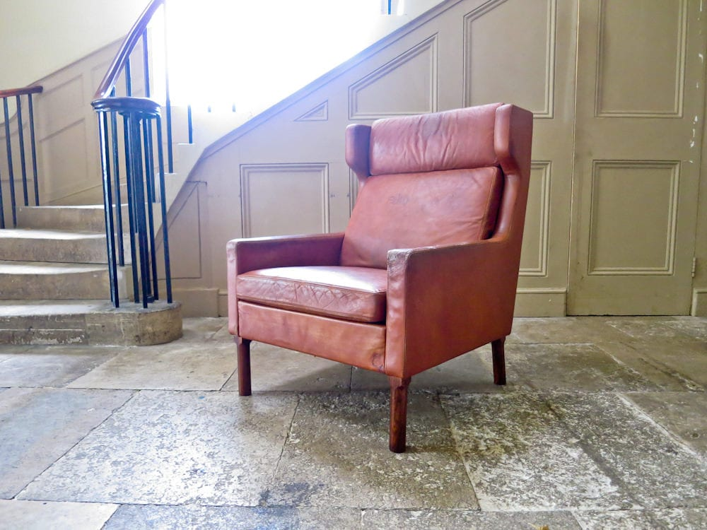 Vodder armchair Fritz Hansen leather Danish armchair 1960's