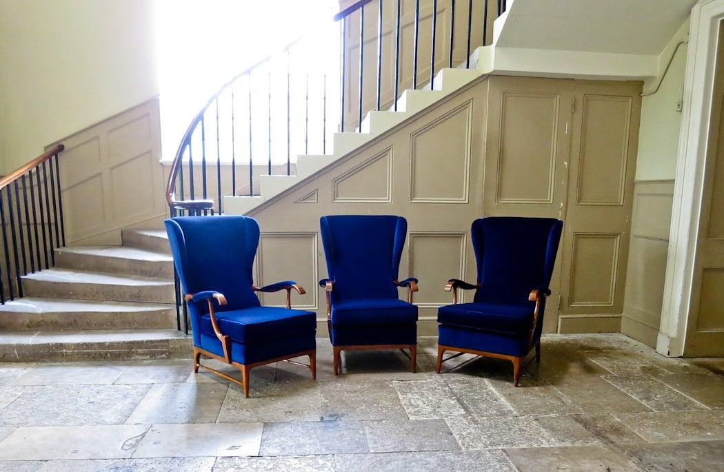 Velvet armchair Italian Paolo Buffa mid century 1950's