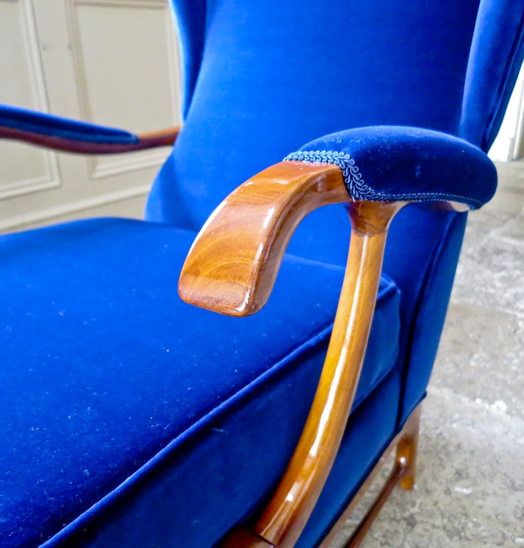 Paolo Buffa furniture armchair Italian walnut & Velvet 1950's