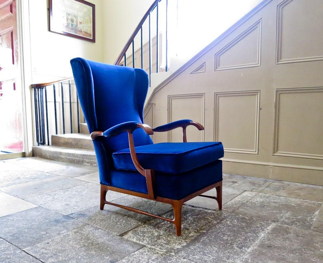 Paolo Buffa armchair Italian mid century walnut & velvet
