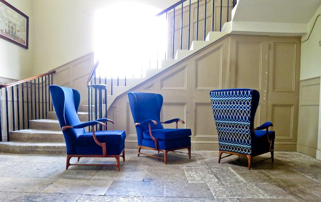 Mid century armchair velvet & walnut Italian 1950's