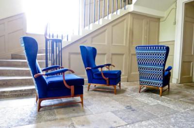 Mid century furniture Paolo Buffa armchairs in velvet
