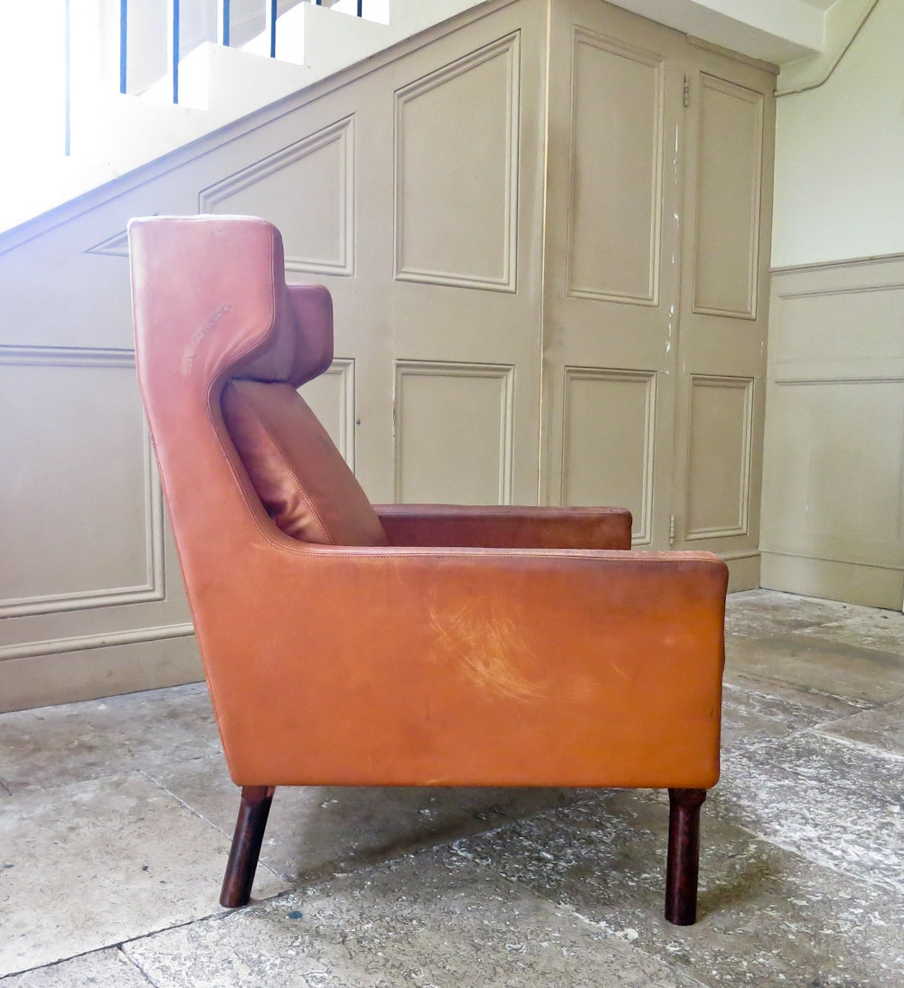 Arne Vodder armchair in Leather by Fritz Hansen 1960's