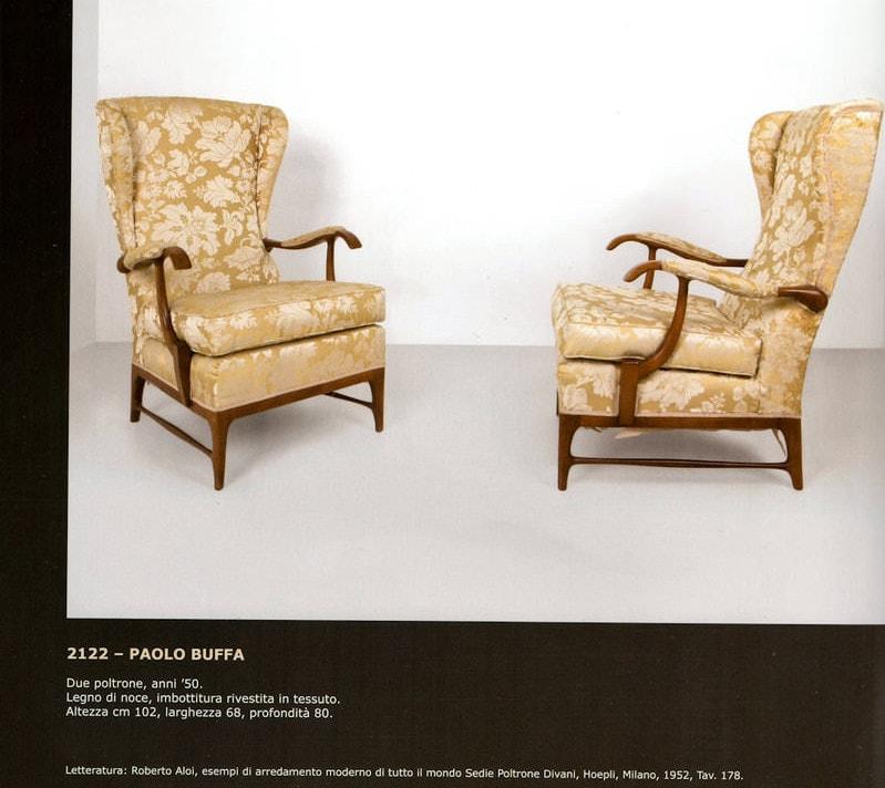 Paolo Buffa armchair velvet walnut Italian design 1950's