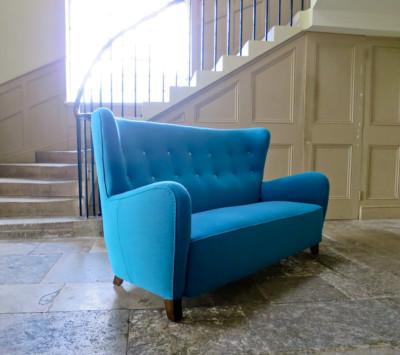 Danish high back sofa blue wool upholstery