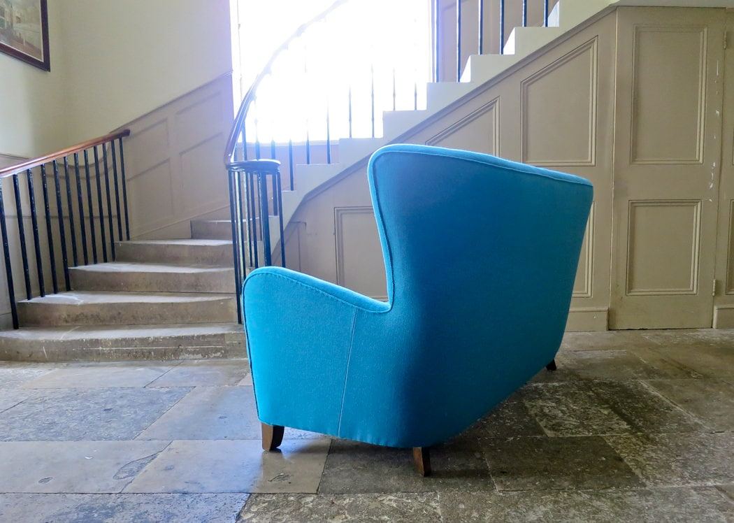 Danish wool sofa blue high back 1950's